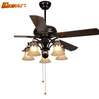 HGHomeart American LED Wooden Fans Light Chandeliers For The Bedroom E27 European Style Iron Living Room