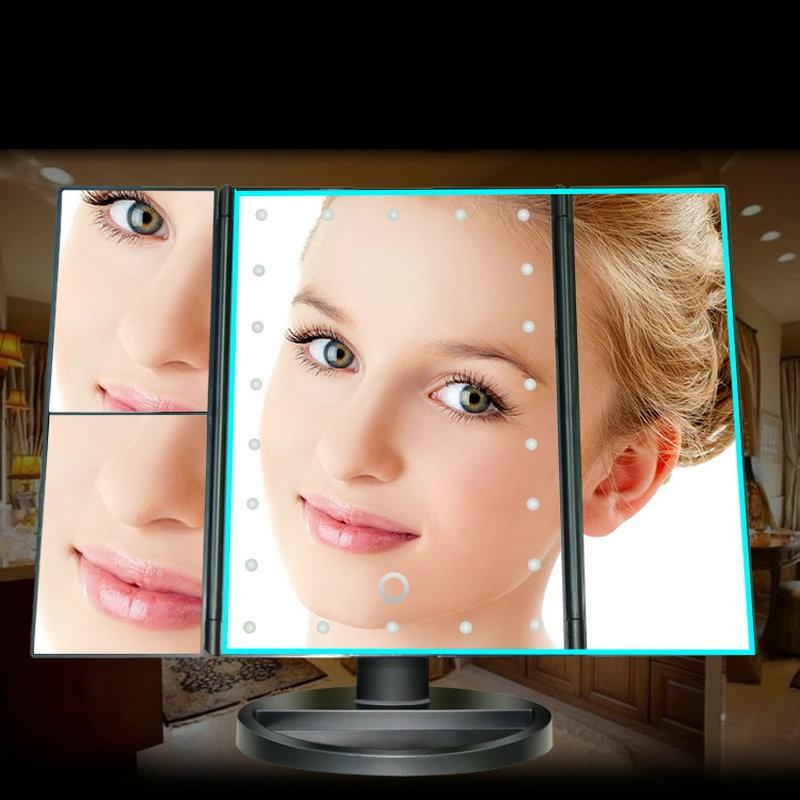 Makeup Mirror Table Desktop Makeup 1X/2X/3X/10X Magnifying Mirrors Vanity 3 Folding Adjustable Mirror LED Touch Screen 22 Light