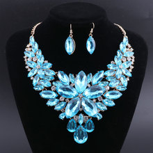 OEOEOS Elegant Floral Bridal Jewelry Sets for Women Blue Crystal Engagement Necklace Earrings Sets Wedding Jewelry vintage artificial crystal floral necklace for women