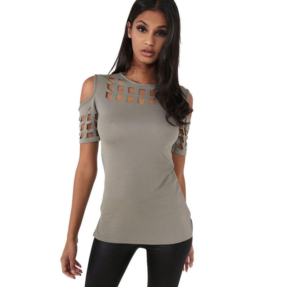 HTB1TM0eOVXXXXamXXXXq6xXFXXXU - T-shirts Women Fashion Off The Shoulder Hollow Out Short Sleeve