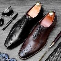 Итальянский медальон мужские свадебные модельные туфли из натуральной кожи ручной работы Оксфорды круглый носок Формальные дизайнерские