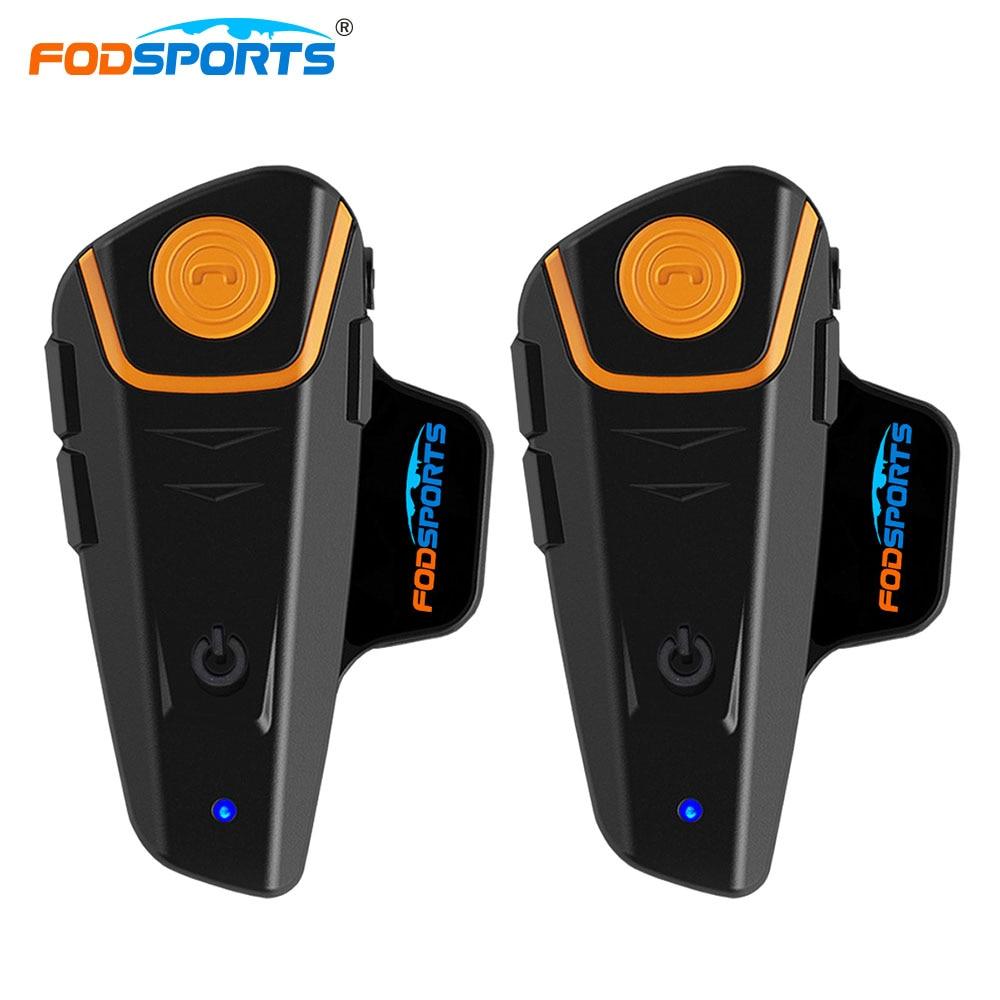 2 pcs BT-S2 Pro Moto Interphone Casque Casques Moto Bluetooth Interphone 1000 M 2 Coureurs Parlent Étanche Avec FM Radio