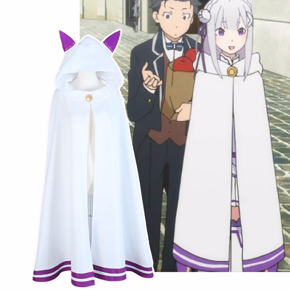 2016 Re:Zero kara Hajimeru Isekai Seikatsu Emilia Elf Cosplay Cat Ear Cape Cloak Robe Anime Cartoon Uniforme Free Shipping