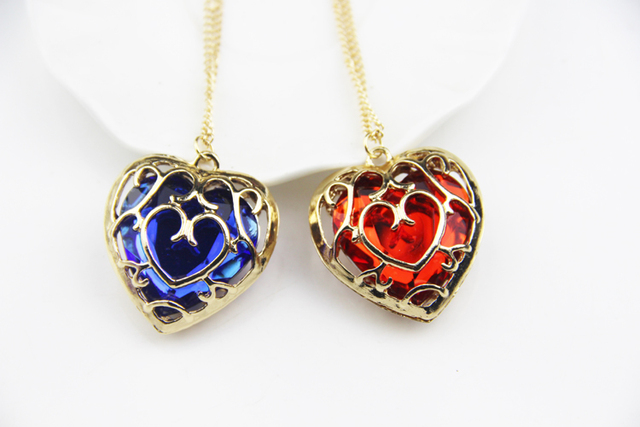 Blue Red Ruby Heart Pendant Necklace