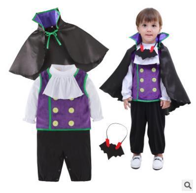 Baby Vampire Costume Infant Toddler 3pcs Clothing Sets Vest+Cloak+Romper