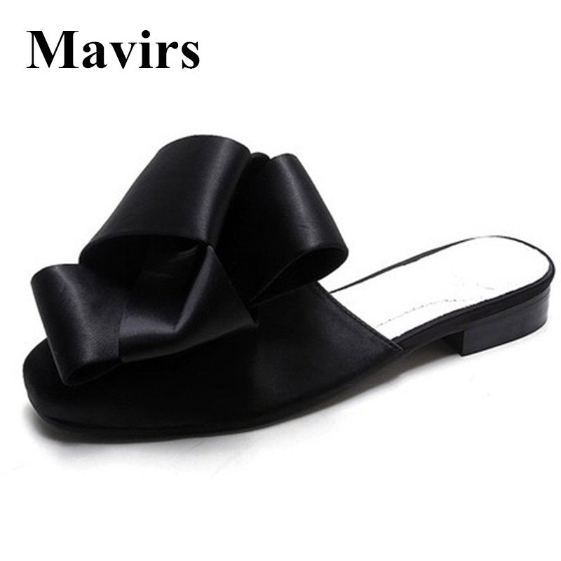 MAVIRS Brand Women Mules Slippers 2018 Fashion Satin Bow Flats Slides Casual Shoes Backless Slip On Loafers Flat US Size 6-12 все цены