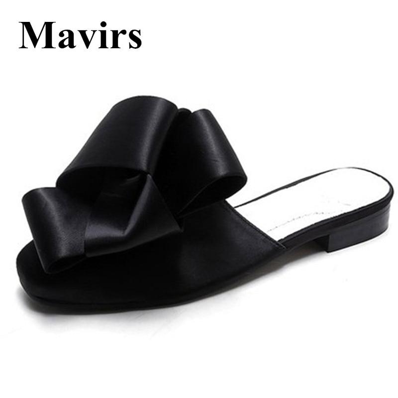 MAVIRS Merk Dames Muilezels Slippers 2018 Mode Satijnen Boog Flats - Damesschoenen