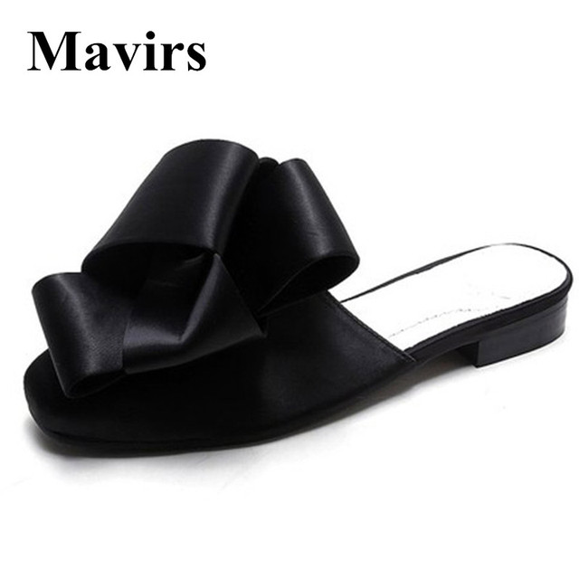 1d3cc54ee46a0 MAVIRS Brand Women Mules Slippers 2018 Fashion Satin Bow Flats Slides Casual  Shoes Backless Slip On Loafers Flat US Size 6-12
