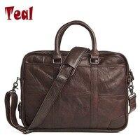 Men Business Bags Men Genuine Leather Briefcase Bag Handbag Laptop Messenger Crazy Horse Large Capacity Bag