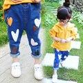 2017 primavera niña estilo short jeans ripped jeans pantalones para niños niñas niños denim pants kids ropa para