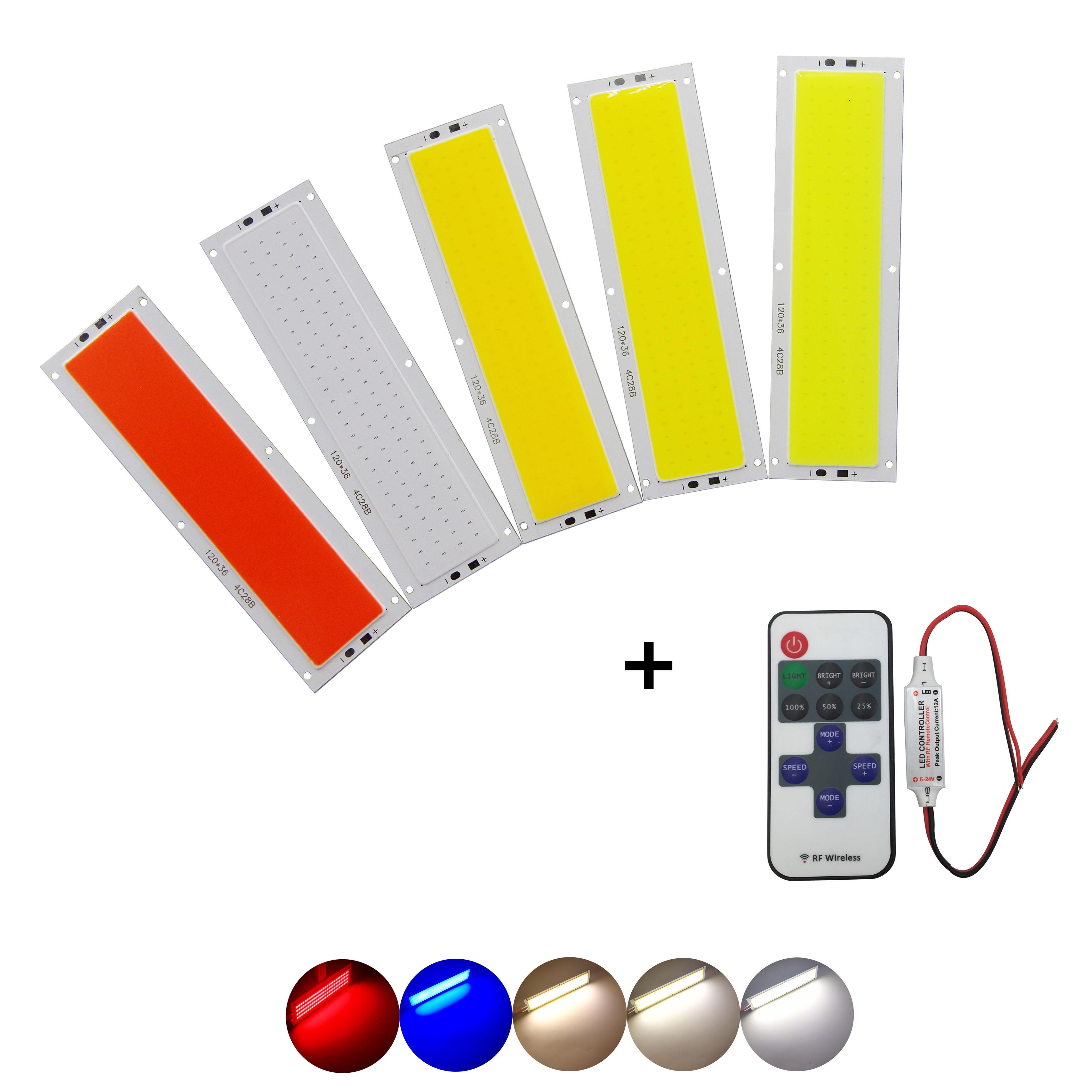 12V 120mm 36mm 12W Natural Warm White Blue RF Remote Dimmer Flip Chip COB LED For DIY Auto Lamp LED COB Strip Light Source
