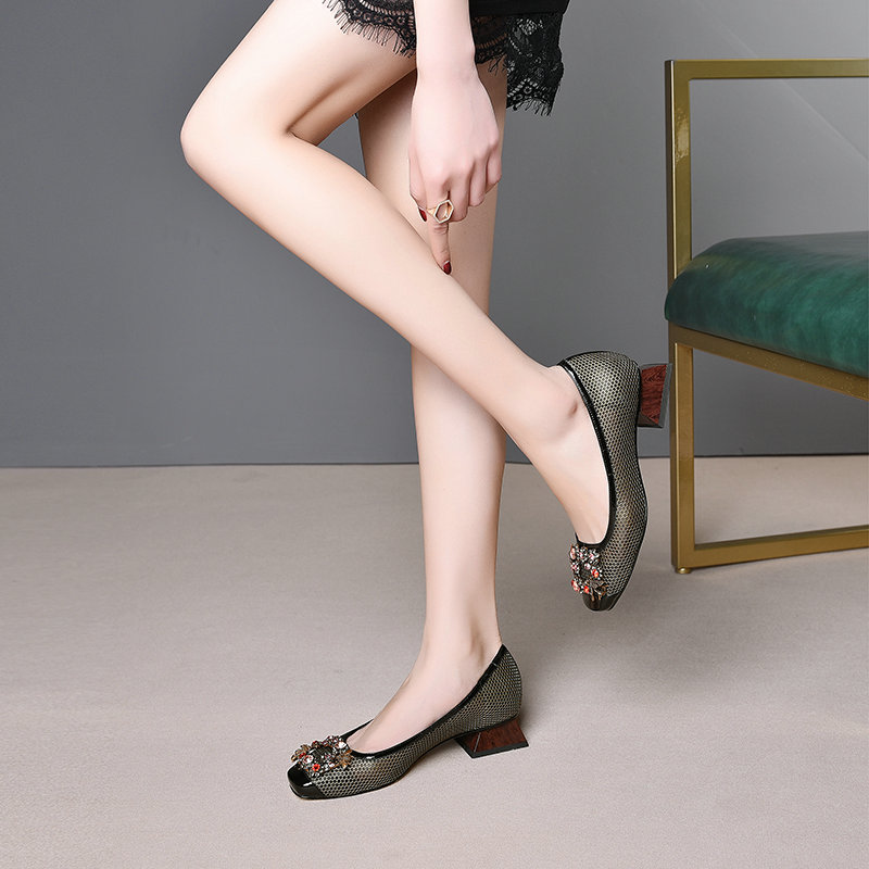 브랜드 디자인 정품 가죽 여성 펌프 고품질 파티 펌프 낮은 뒤꿈치 패션 라인 석 사무실 숙녀 드레스 신발-에서여성용 펌프부터 신발 의  그룹 3