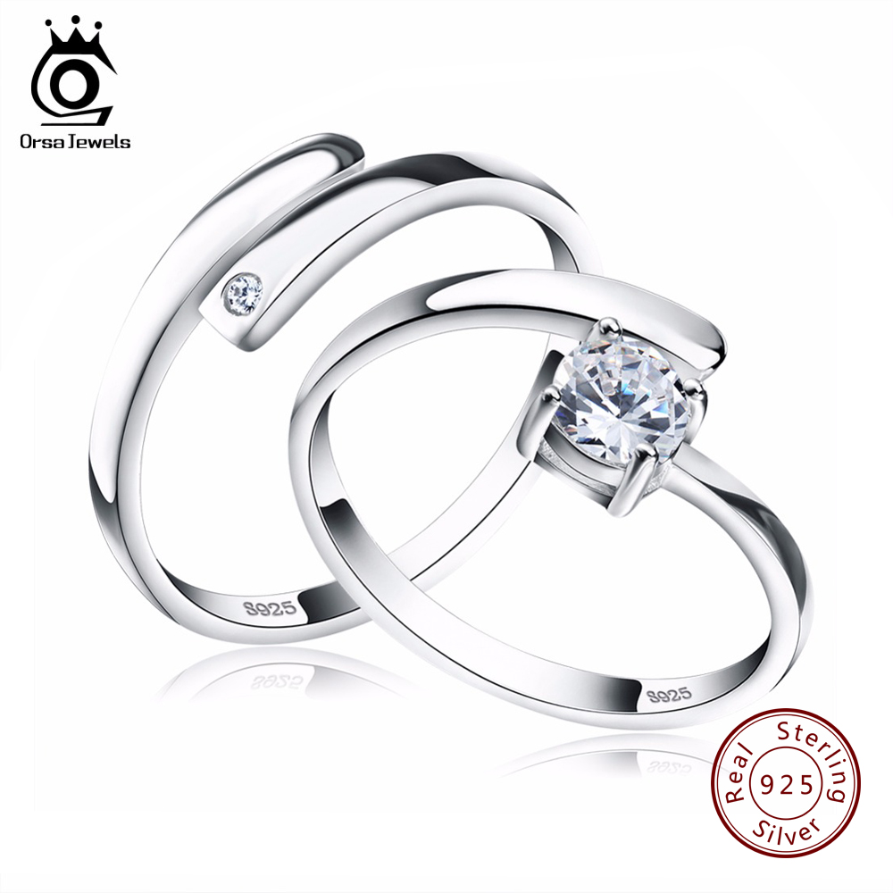 ORSA JEWELS 925 Silver Ring Set with CZ Fine Jewelry for Women Men 2017 New Resizable Real 925 Sterling Silver Jewelry SR22 браслет с брелоками seendom jewelry 925 pulseiras cz xoxo pbs105