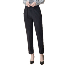 Elderly Women Black Pants High Elastic Band Waist Trousers Striped Pantalones Mujer Middle Aged Woman Casual Pant Mother Trouser
