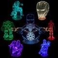 O Envio gratuito de 1 Peça de Super-heróis da Marvel Tony Stark Homem De Ferro Luz Da Tabela 3D Vision Ilusão Lâmpada de Mesa LED Cor Mudar luz