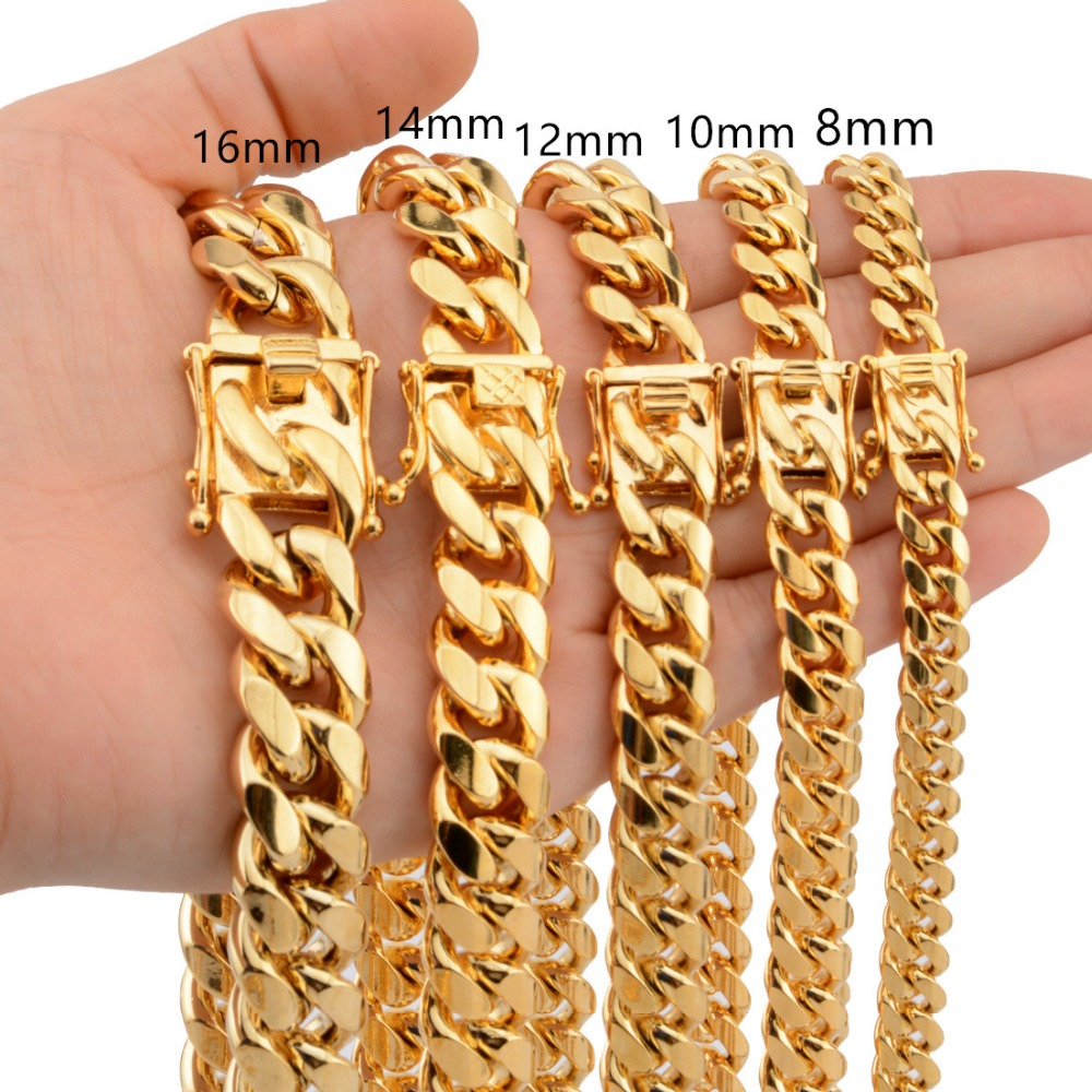 8/10/12/14/16/18mm Trendy Jewelry 316L Stainless Steel Gold Tone Miami Cuban Curb Chain Men Women Necklace Or Bracelet 7-40 Hot hot fashion естественный цвет 10 12 14 16