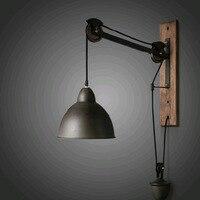 Деревенский винтажный веревочный настенный светильник с индивидуальным длинным кронштейном настенный светильник из цельного дерева наст