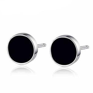 2016 high quality black men jewelry fashion 925 sterling silver promotion man stud earrings wholesale