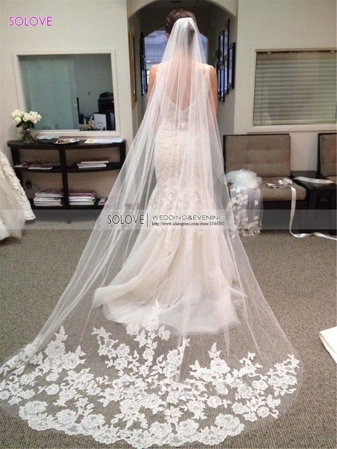 Wedding Accessories 2015 Appliques Tulle Long Cathedral Wedding Veil Lace Edge Bridal Veil with Comb veu de noiva longo SL-V291