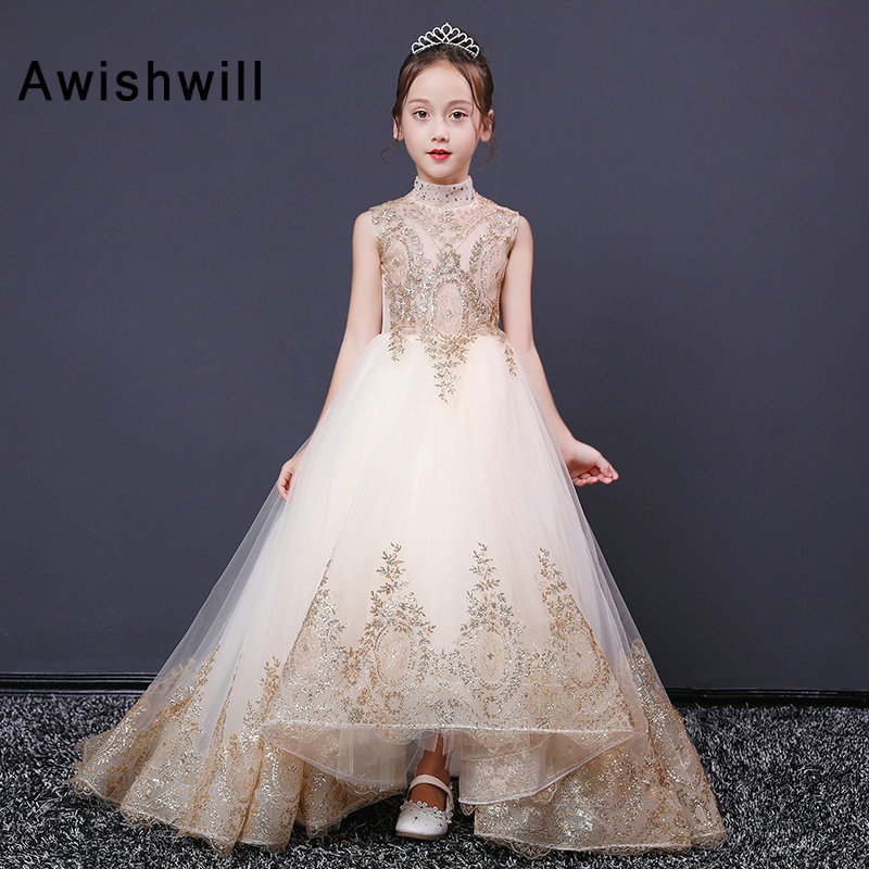 New Arrival 2019   Flower     Girl     Dresses   High Neck Gold Lace   Girl   Pagenat   Dress   Sleeveless Ball Gown Kids Party Gown