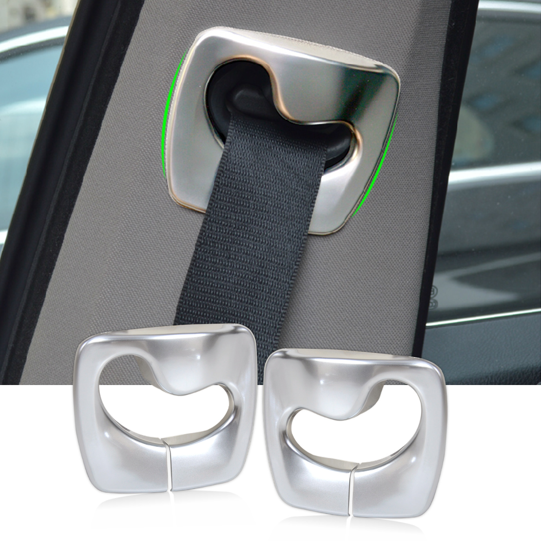 DWCX car-styling 2pcs Matt Chrome B Pillar Safety Seat Belt Cover Trim For BMW 5 Series F10 2011 2012 2013 2014 2015 chrome 3pcs interior head light lamp switch button cover trim for bmw 5 series f10 2011 2012 2013 2014 car styling