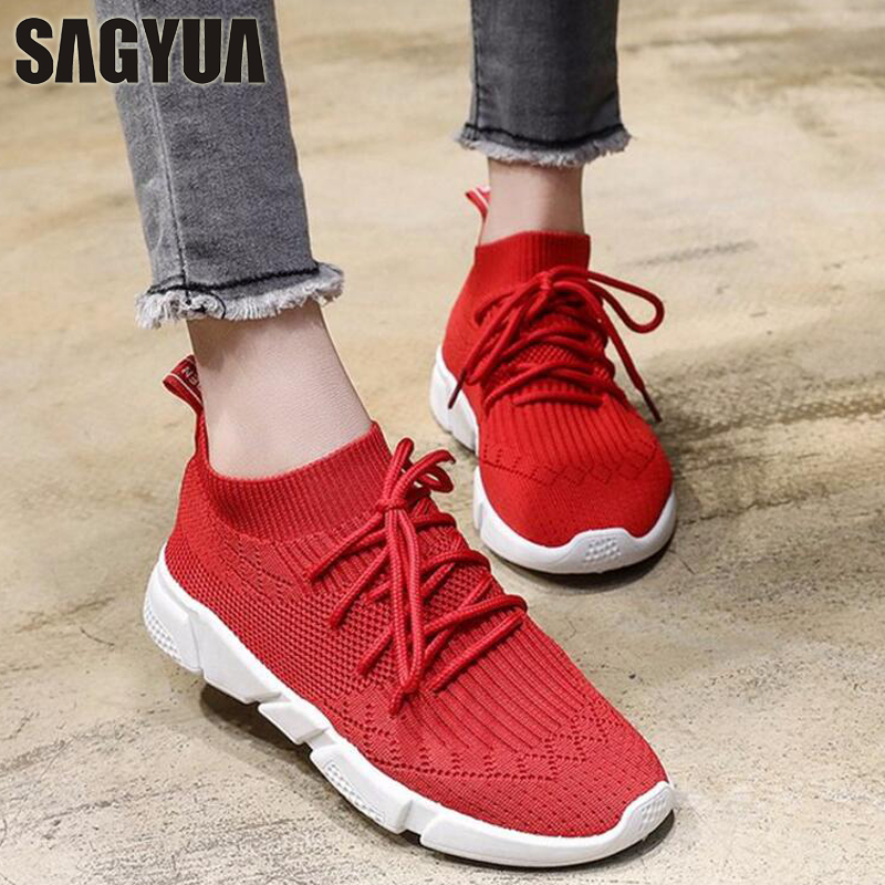 SAGYUA TOP Women Mujer Fashion Casual Spring Mesh Air Socks Style Breath Lace Up Fitness Walking Zapatillas Plimsolls Shoes T345 t345