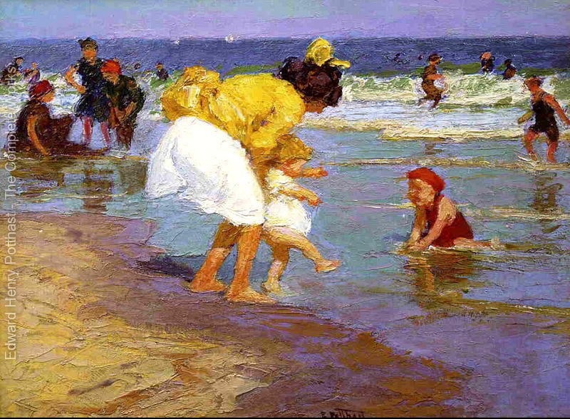 oil painting Beach and Children At the Seaside by Edward Henry Potthast High quality Hand painted Landscape Art Home Decor