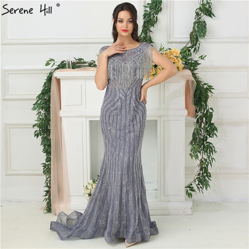 c7e2d474e9828 US $200.2 30% OFF|Elegant Illusion Back Tassels Mermaid Evening Dresses  2019 Sheer Crystal Beaded Long Formal Dress Party Robe De Soiree BLA6695-in  ...