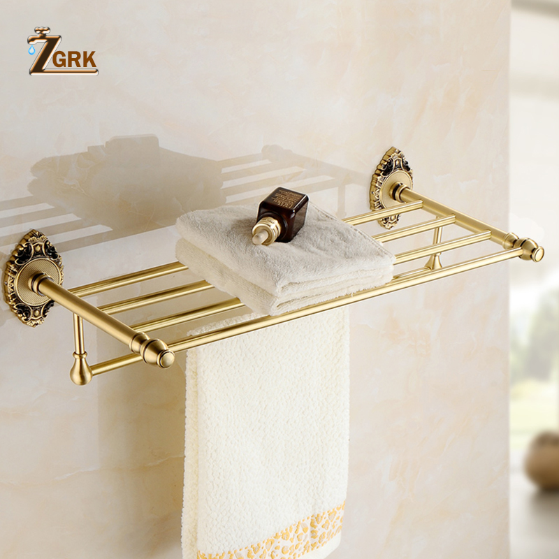 ZGRK Brass Bath Towel Rack Active Bathroom Towel Holder Double Towel Shelf Bathroom Accessories 9603 foldable black bronze bath towel rack active bathroom towel holder double towel shelf with hooks bathroom accessories