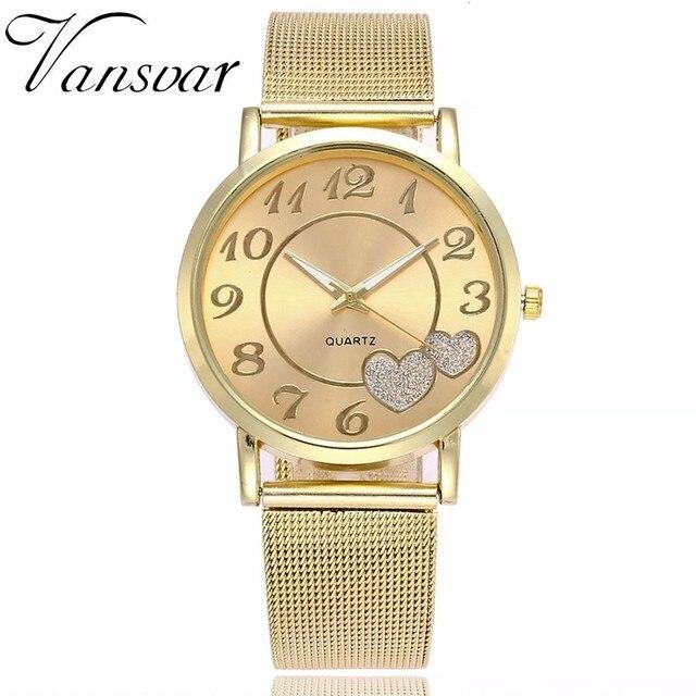 Dropshipping Women Silver & Gold Mesh Love Heart Dial Wristwatches Fashion Casual Women's Steel Quartz Watches Relogio Feminino  2