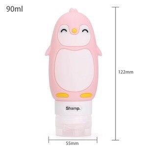 Image 5 - Organizador portátil de Estuche De Viaje de silicona con diseño de oso y pingüino, para champú, Gel de ducha, loción, botella rellenable
