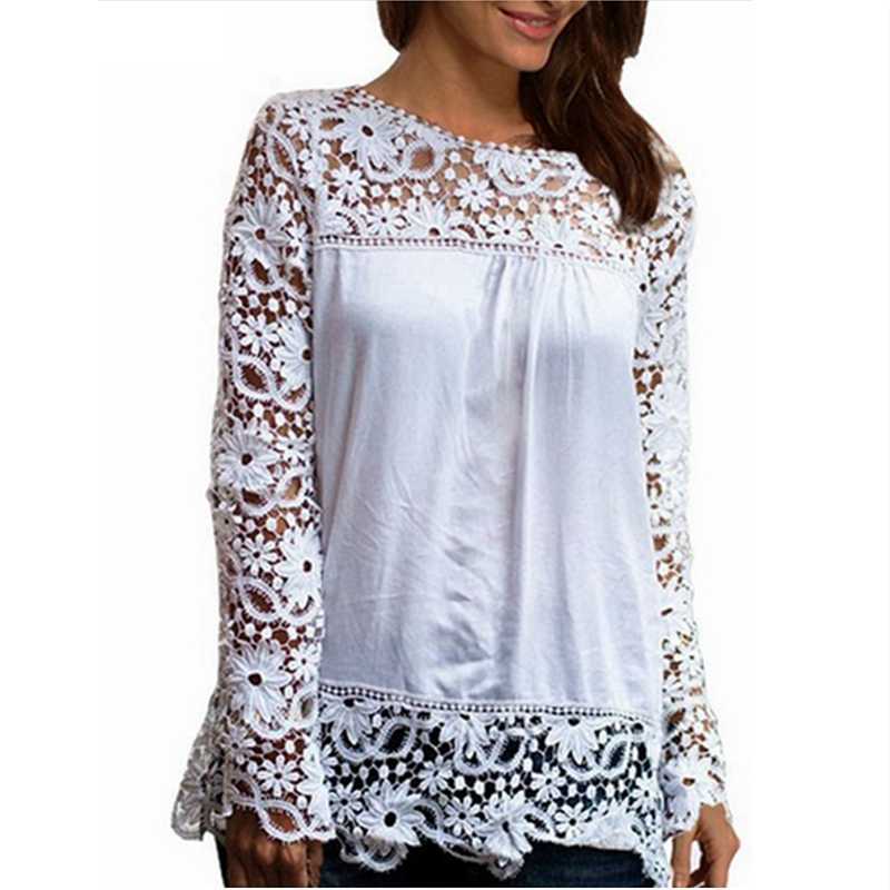 2018 Summer time Girls White Lace Blouses Shirts Vogue Chiffon Blouses Hole Out High Feminine Plus Dimension Girls's Clothes 4XL 5XL 50 white lace shirt, chiffon shirt, lace shirt,Low...
