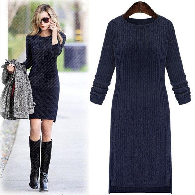 d0665c6000e Hiver pull en laine robe pour les femmes tricoté Vestidos automne manches  longues grande taille femme