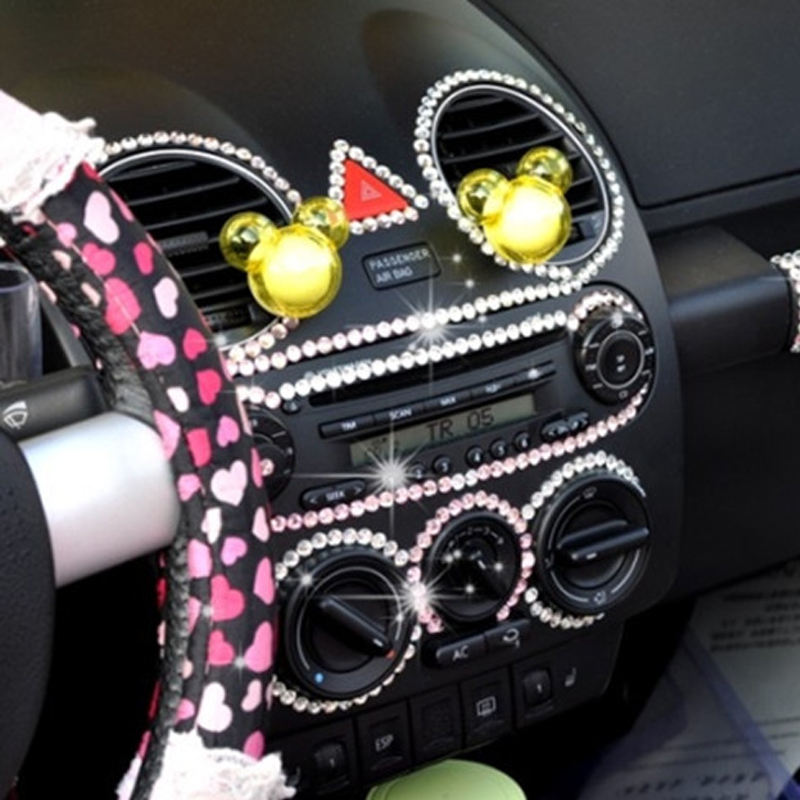 Diamond Car Sticker Bling Crystal Car Styling Decoration Interior Accessories Girl Beautiful Car