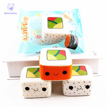1Pc Cute Yummy Sushi Squishy Slow Rising Phone Strap 6CM Kawaii Cartoon Face Pendant Stretchy Bread Cake Kids Fun Toy Gift цены