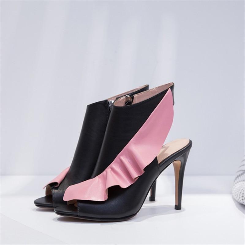 Véritable Pompes White Printemps Cuir Peep Eté Sexy Femmes En Bottines pink Pour Fleurs Talons Rullfles Chaussures Slingback Toe Haute Sandales PikZXuwOT