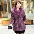 2016 Lady Genuine Rabbit Fur Coat with Fox Fur Collar Female Winter Women Fur Outerwear Coats Plus Size 3XL VK0998