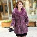 2016 Señora Rabbit Fur Coat Genuino con Fox Cuello de Piel Mujer Invierno Piel de Las Mujeres Abrigos abrigos Tallas grandes 3XL VK0998