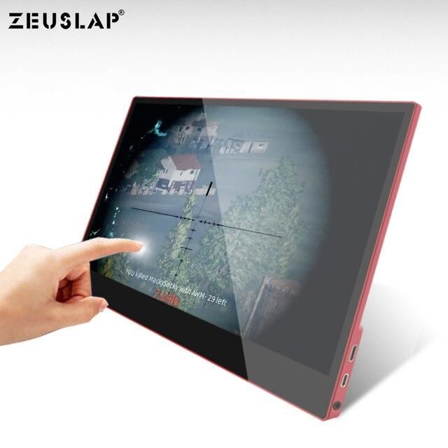 ZEUSLAP USB C HDMI 1080 P HDR 10 Ponit Toccare Portatile Dello Schermo del Monitor Per Il Gioco Host, thunderbolt Tipo C Del Telefono e Del Computer Portatile