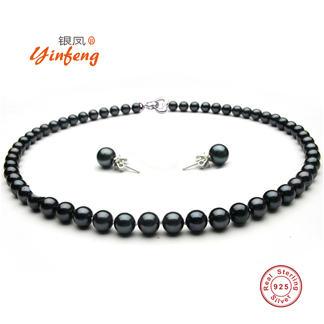 [YinFeng]New Sale 8-9mm Big Size Natural Freshwater Black Pearl Beads Noble Jewelry Sets S925 Silver Wedding Women Jewelry