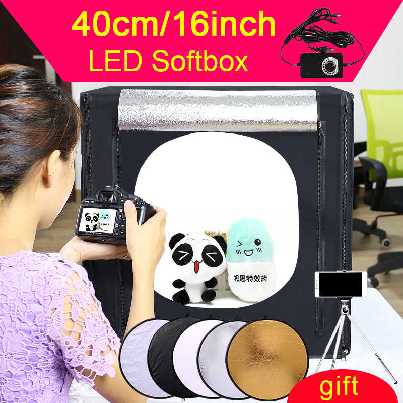 Kapal Gratis 40*40*40 Cm Portable LED Photo Studio Lampu Tenda Set + 2 Latar Belakang + Dimmer switch Fotografi Tenda Kit Mini Box Photo Box