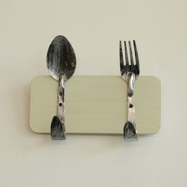 Vintage Style Rustic Look Spoon Fork Wall Hook Restaurant Wall ...