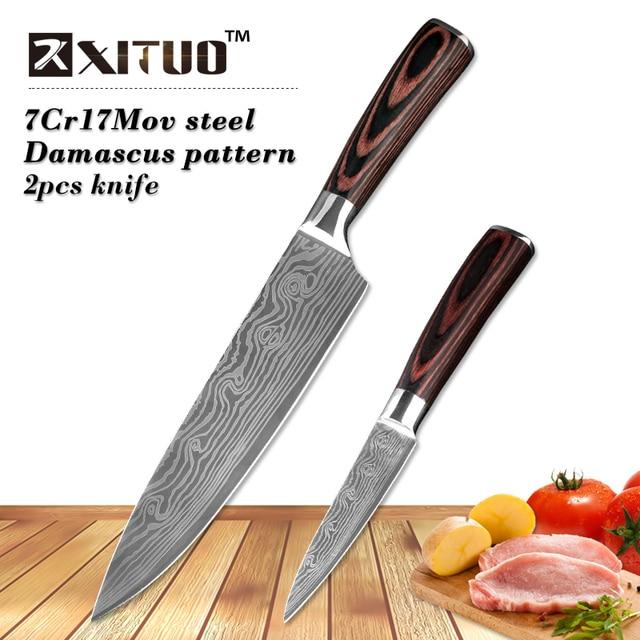 Xituo Terbaik 2 Pcs Pisau Dapur Set Jepang Pola Baja Damaskus Chef Knife Alat Pengupas