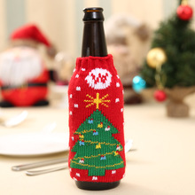 2018 New Year Christmas Decorations Champagne 330ML Wine Bottle Knitting Cover Bag Banquet Xmas Dinner Party Decoration Supplies