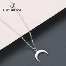 Todorova Stainless Steel Jewelry OX Horn Pendant Necklace Crescent Moon Necklace Gifts for Women Femme Collare Mujer Bijoux(China)