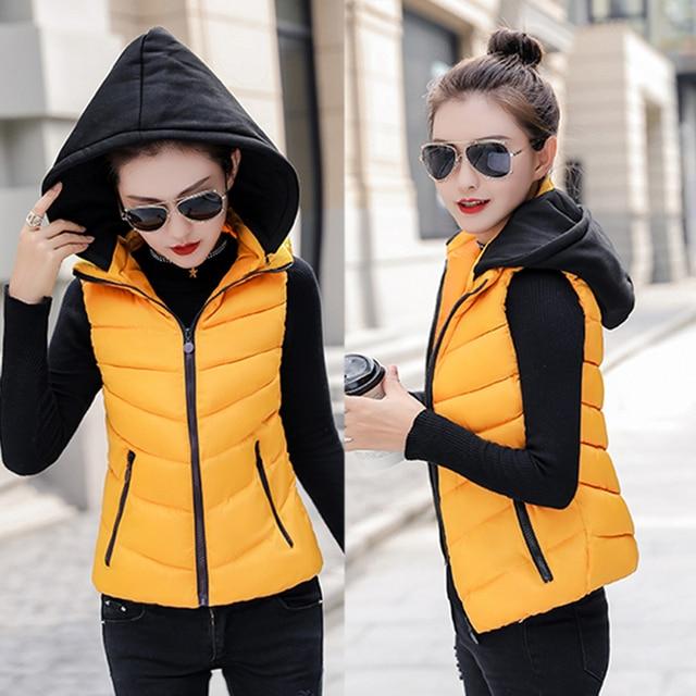 Nữ Mùa Đông áo Khoác có mũ áo Wasitcoat cho nữ chalecos Para mujer ngắn lót Bông Áo Vest áo khoác