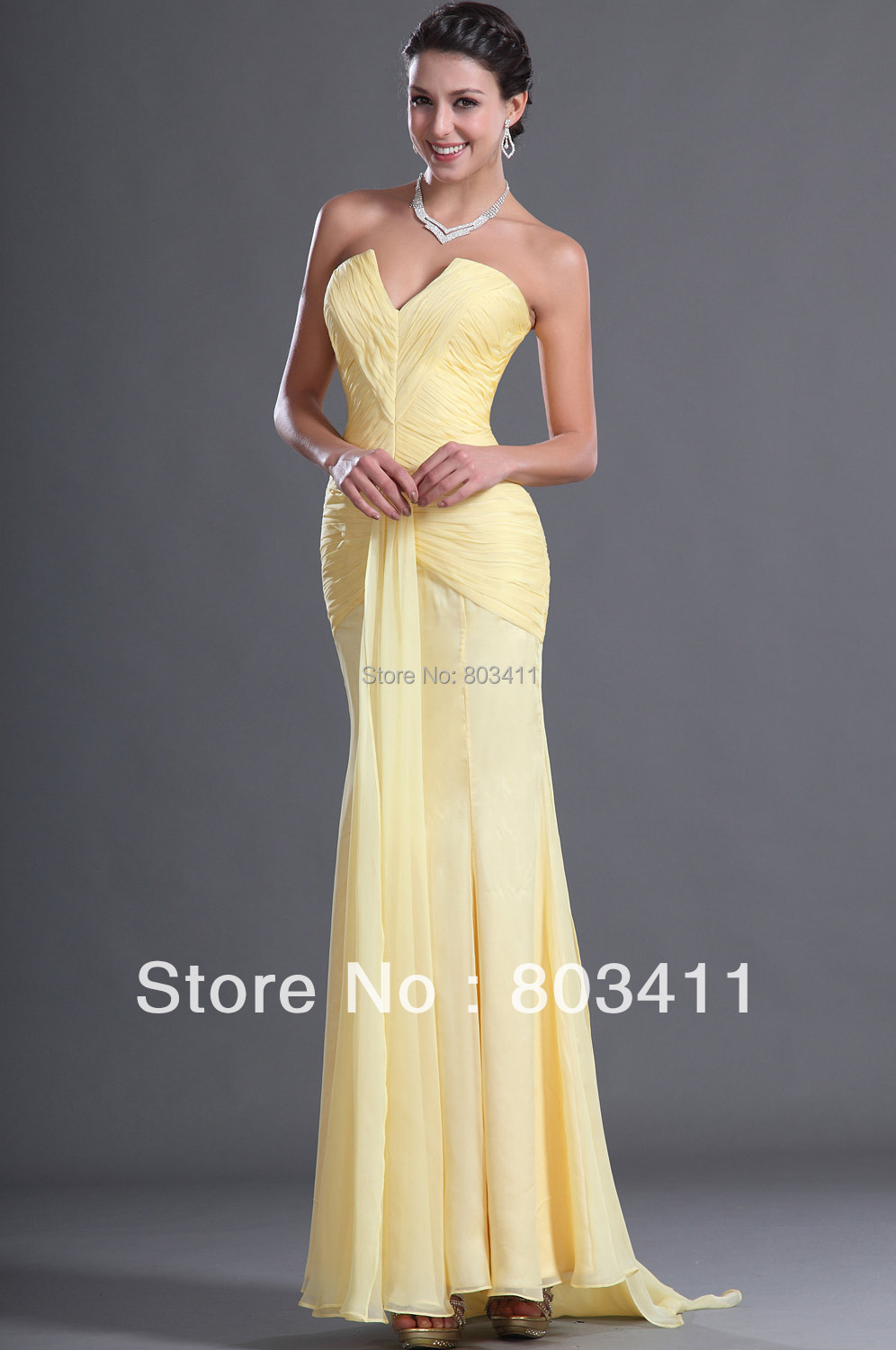Free Shipping New Arrival Pretty Strapless Notched Neckline Pleated Yellow Chiffon Evening Dress
