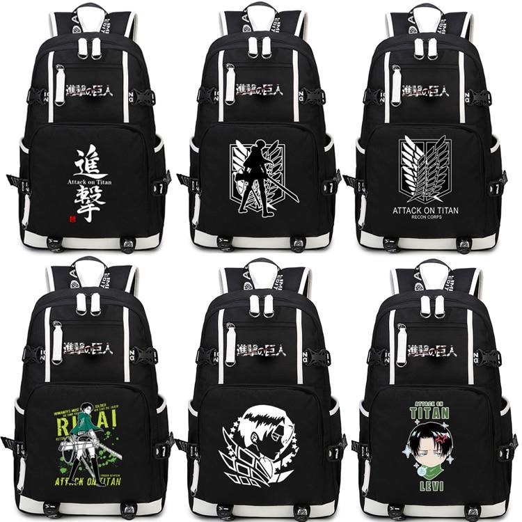 Anime Attack on Titan Backpack Cosplay Levi Ackerman Canvas Bag Super Saiyan Schoolbag Travel Bags