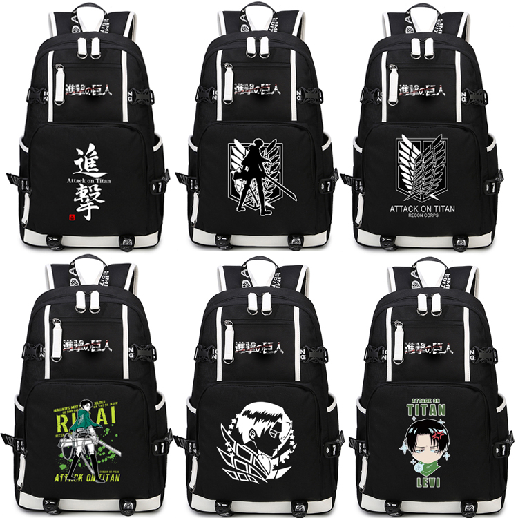 Anime Attack on Titan Backpack Cosplay Levi Ackerman Canvas Bag Super Saiyan Schoolbag Travel Bags купить недорого в Москве