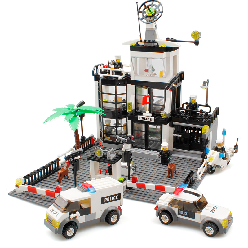 Police Station Building Blocks Toys Compatible Legos City Toys Police Figures Enlighten Bricks Blocks Toy For Boys Birthday Gift classic toy urban police station building bricks helicopter jail cell add fugitive figures lepincity models blocks toys for kids